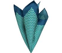 Accessoires Einstecktuch Seide mint-marineblau gemustert