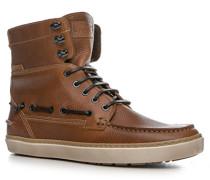 Herren Schuhe Schnürstiefeletten Leder cognac braun