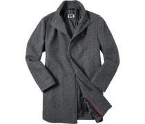 Mantel Wolle anthrazit-schwarz gemustert