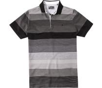 Herren Polo-Hemd Baumwoll-Trikot grau gestreift