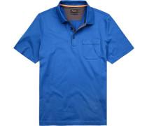 Polo-Shirt Polo Baumwolle mercerisiert azurblau