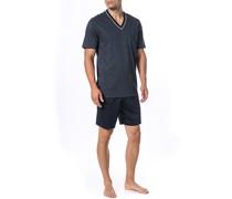 Schlafanzug Pyjama Baumwolle navy gemustert