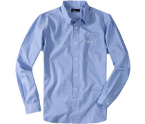 Herren Hemd Baumwolle hellblau meliert