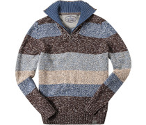 Pullover Troyer Baumwolle -braun gestreift