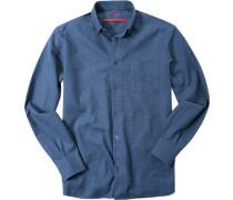 Herren Hemd Classic Fit Gewebe-Mix dunkelblau-rauchblau gemustert