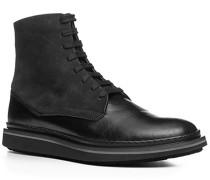 Herren Schuhe Stiefeletten Leder-Mix schwarz schwarz,schwarz
