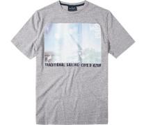 Herren T-Shirt Baumwoll-Mix grau gemustert