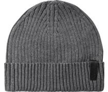 Mütze Baumwolle-Kaschmir hellgrau meliert