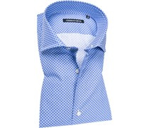 Herren Hemd Slim Fit Popeline azurblau-weiß gemustert
