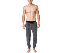 Schlafanzug Pyjamahose Baumwolle anthrazit meliert