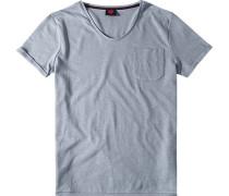 T-Shirt Baumwolle-Leinen hellblau