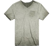 T-Shirt Modern Fit Baumwolle oliv meliert
