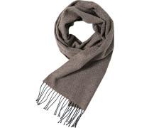 Schal Wolle graubraun gemustert