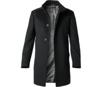 Herren Mantel Schurwolle-Kaschmir schwarz schwarz,grau