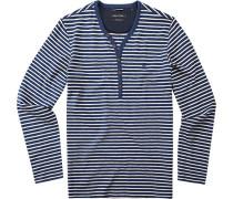 T-Shirt Longsleeve Regular Fit Bio Baumwolle -beige gestreift