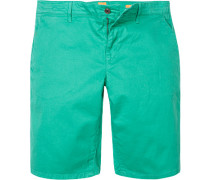 Hose Bermudashorts, Slim Fit, Baumwolle, seegrün