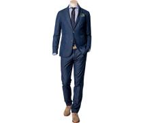Anzug Shaped Fit Baumwolle halbgefüttert jeansblau