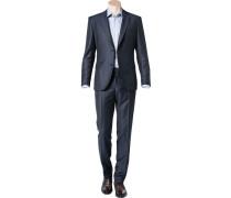 Herren Anzug Regular Fit Schurwolle Super120 dunkelblau gemustert