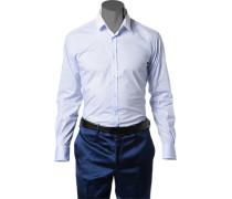 Hemd Slim Fit Popeline bleu
