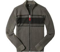 Zip-Cardigan Regular Fit Schurwolle-Kaschmir khaki gemustert