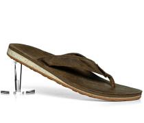 Schuhe Zehensandale Leder dunkelbraun