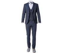 Herren Anzug mit Weste Slim Fit Schurwoll-Mix blau meliert