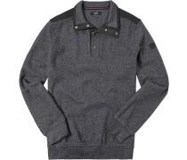 Herren Pullover Troyer Baumwoll-Mix grau-schwarz meliert