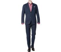 Anzug, Shaped Fit, Baumwolle, marineblau