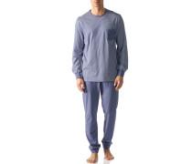 Herren Schlafanzug Pyjama Baumwoll-Mix rauchblau-weiß gestreift