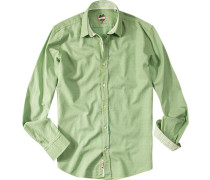 Hemd Slim Fit Baumwolle hellgrün gemustert