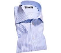 Hemd Slim Fit Popeline bleu-weiß