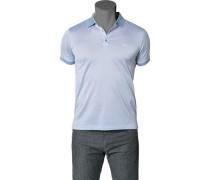 Polo-Shirt Polo Baumwoll-Piqué hellblau meliert