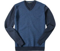 Pullover Merinowolle extrafein raublau-capriblau gemustert