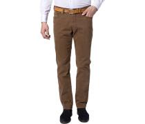 Jeans, Regular Fit, Baumwoll-Stretch, nougat