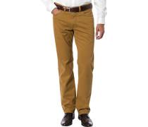 Herren Blue-Jeans Regular Fit Baumwoll-Stretch ockergelb