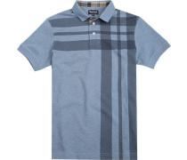 Polo-Shirt Polo Baumwoll-Piqué rauchblau gemustert