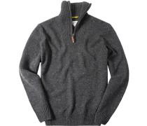 Herren Pullover Troyer Woll-Mix dunkelgrau meliert