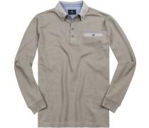 Polo-Shirt Baumwoll-Pique greige meliert