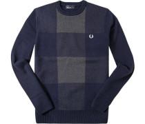 Herren Pullover Wolle-Baumwolle dunkelblau-hellgrau gemustert