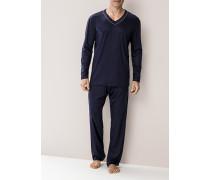 Schlafanzug Pyjama Microfaser navy