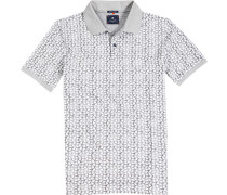 Polo-Shirt Polo Baumwoll-Piqué taupe-weiß gemustert