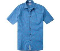 Herren Hemd Modern Fit Popeline türkis-blau floral