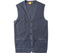 Pullover Weste Baumwolle graublau