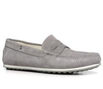 Schuhe Mokassins Veloursleder hellgrau