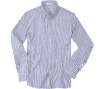 Hemd Baumwoll-Oxford weiß-blau gestreift