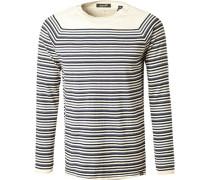 Pullover, Baumwolle-Kaschmir, ecru- gestreift