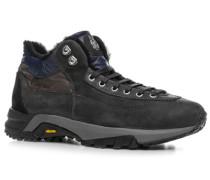 Schuhe Schnürstiefeletten Veloursleder warm gefüttert dunkelgrau