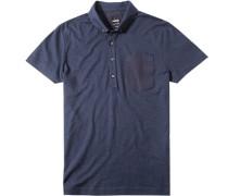 Polo-Shirt Polo Baumwoll-Jersey dunkelblau meliert