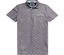 Polo-Shirt Polo Modern Fit Baumwoll-Pique navy gemustert