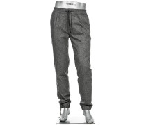 Hose Jogpants Baggy, Regular Slim Fit, Wolle-Seide, meliert